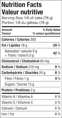 Calories gateau nature
